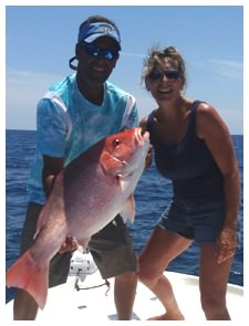 Red Snapper caught while deep sea fishing in Daytona Beach