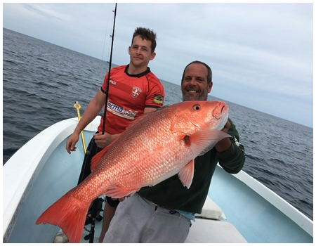 Big red snapper from an offshore fishing trip