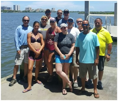 Group charter getting ready to go fishing with Captain Corey