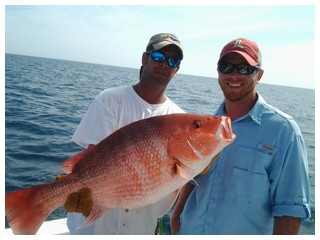 Red Snapper caught offshore over an artificial reef with On The Hook Charters in Daytona Beach, Florida